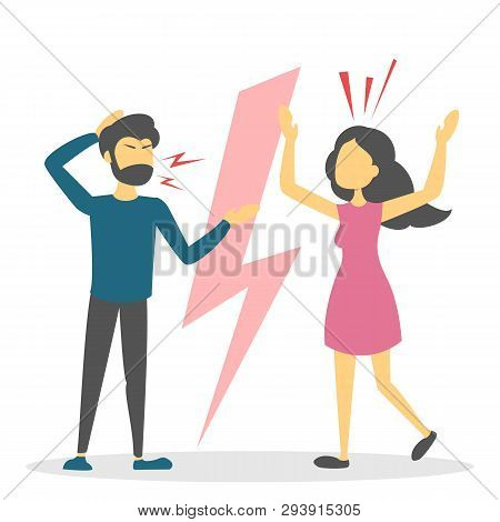 Angry Couple Argue. Wife And Husband Shouting And Fight. Dispute Between Girlfriend And Boyfriend. S