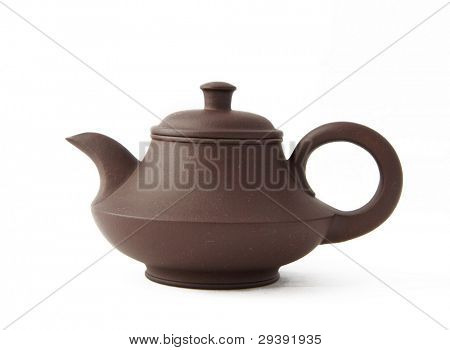 Clay teapot,also called zisha teapot in China. isolated on white background.