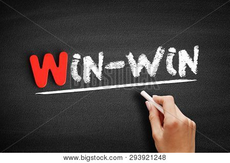 Win-win Text On Blackboard, Business Concept Background