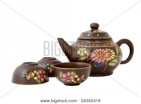 Pottery  tea service,chinese style,  isolated on white