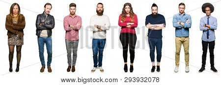 Collage of people over white isolated background skeptic and nervous, disapproving expression on face with crossed arms. Negative person. poster