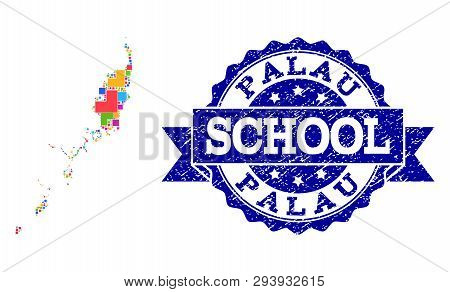 Mosaic puzzle map of Palau Islands and unclean school seal with ribbon. Vector map of Palau Islands designed with bright colored square and corner blocks. Vector seal with unclean rubber texture, poster