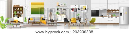 Modern House Interior Background With Living Room , Dining Room And Kitchen Combination , Vector , I