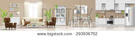 Modern Rustic House Interior Background With Living Room , Dining Room And Kitchen Combination , Vec