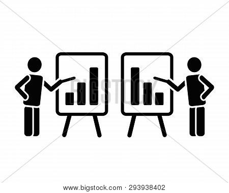 Simple Two Black Solid Icon Pictogram Of Man Figure With Flipchart Pointing On Bar Chart Columns Gro