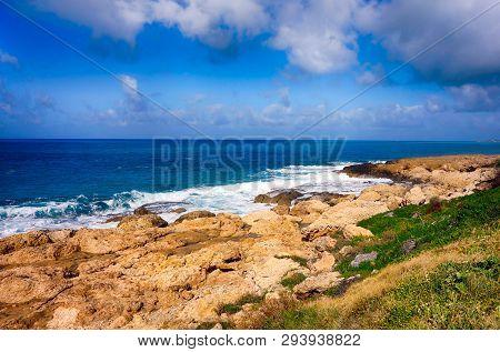 Beautiful Sea Coast With Cloudy Sky. Non Urban Scene.