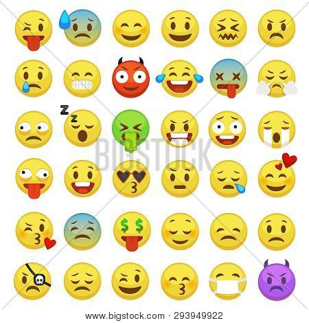 Emoticons Set. Emoji Faces Emoticon Smile Funny Digital Smiley Expression Emotion Feelings Chat Mess