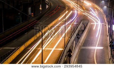 Long Exposure Traffic Lights And Cars Lights Time Lapse In Busy Night City