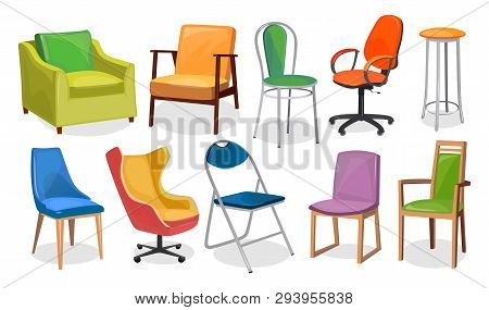 Modern Chair Furniture Collection. Comfortable Furniture For Apartment Interior Or Office. Colorful