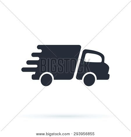 Delivery Truck Icon Vector Design Logo Template. Speed Delivery, Fast Shipping Icon Sign. Courier Va