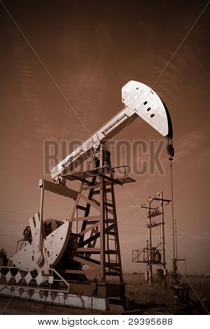 oil pump jack, tone sepia