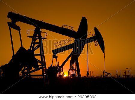 Silhouette of oil pump jack
