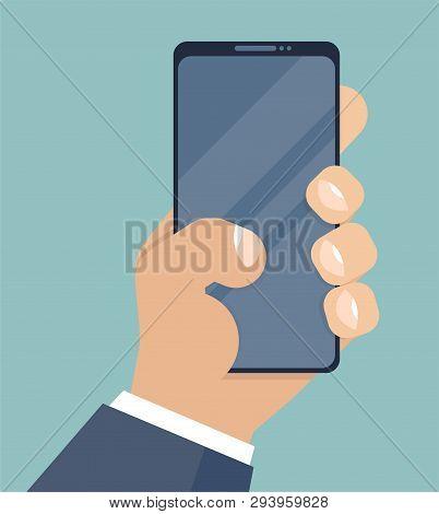 Smartphone In Hand. Mobile Phone Holding In Businessman Hands. Cartoon Style. Smart Cellphone Digita
