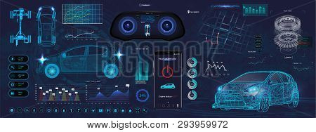 Application Elements For Car, Futuristic Style (hud). Ui,ux, Kit. Set Elements For Mobile App, Dark