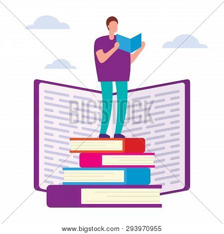 Education Courses Flat Vector Concept. Search For Answers To Questions In Books. Self Education Vect