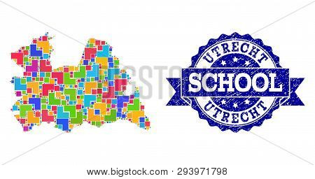 Mosaic Puzzle Map Of Utrecht Province And Unclean School Seal Stamp With Ribbon. Vector Map Of Utrec