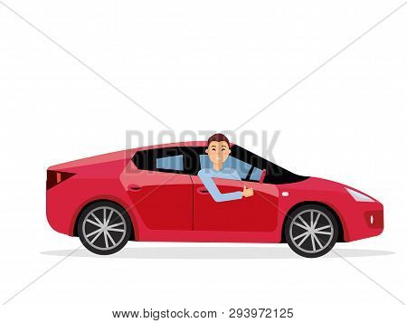 Smiling Young Man Inside His Car. Friendly Driver At The Wheel Of Car. Side View Of Right-hand Drive