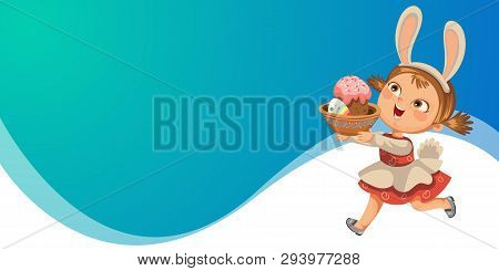 Little Girl Smile Running Hunting Decorative Chocolate Egg In Easter Bunny Costume Ears And Tail Vec