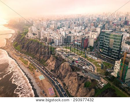 Lima, Peru - December, 12, 2018: Aerial Of Buildings Of Downtown Miraflores In Lima On A Overcast Da