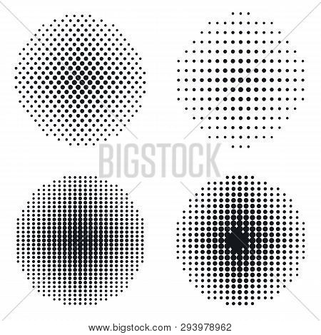Halftone Circles, Halftone Dot Pattern Set. Vector Retro Style Dotwork Background. Abstract Dotted S