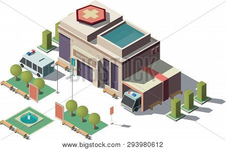 Vector 3d Isometric Hospital With Parking. Helicopter Landing Strip For Ambulance Vehicle, Aircraft.