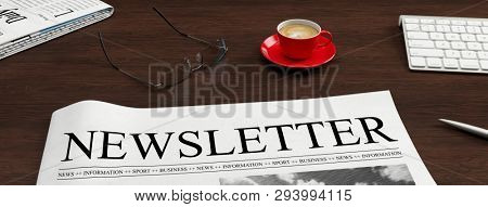 Newspaper with newsletter heading lies on a desk as information and news concept (3d rendering)