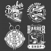 Monochrome barbershop emblems set with straight razors glass of whiskey scissors barber chair in vintage style isolated vector illustration poster