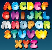 Multicolored Cartoon Vector Font, Set of Isolated Symbols for your Design poster