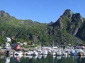 Norway - harbor town of Svolvaer on the island Austvagoy. Famous Lofoten. poster