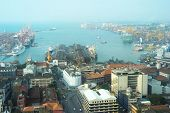 View on Colombo harbor from WTC Colombo. Sri Lanka poster