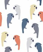 Modern seamless pattern with pastel colored cockatoo birds on white background. Minimal avian wallpaper poster