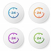 Color Clock 24 hours icon isolated on white background. All day cyclic icon. 24 hours service symbol. Set color icon in circle buttons. Vector Illustration poster