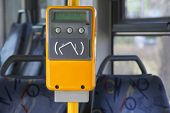 Ticket validator, card reader in public bus. Device for reading and scanning of public transport cards  to pay for riding in public transport. poster