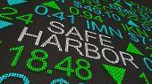 Safe Harbor Tax Shelter Avoid Penalties Stock Market Ticker 3d Illustration poster