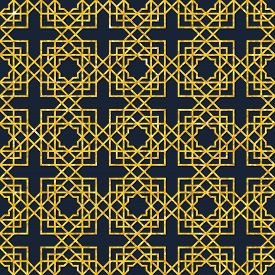 Abstract Seamless Geometric Pattern On Golden Glittering Texture. Arabic Ornament. Islamic Design. R