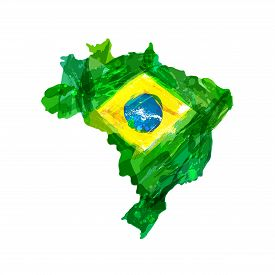 Map Of Brazil. Watercolor Hand Drawn Brazilian Map With National Flag. Watercolor Background, Ink St