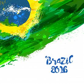 Brazilian Watercolor Flag. Brasilia 2016. Watercolor Hand Drawn National Flag. Watercolor Background