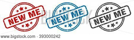 New Me Stamp. New Me Round Isolated Sign. New Me Label Set