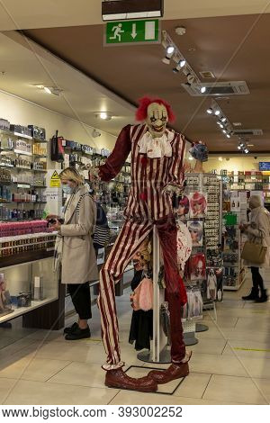 Doncaster, Yorkshire, England - October 7, 2020. Skeleton Dressed In Red And White Striped Clothes I