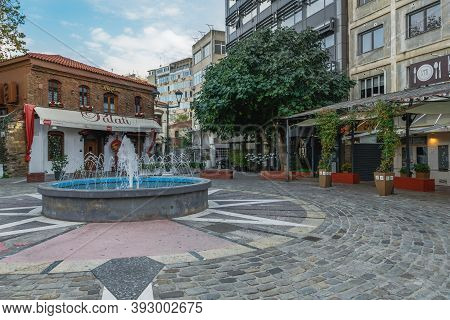 Thessaloniki, Greece - November 02 2020: Closed Taverns Without People At Ladadika Area. Day View Of