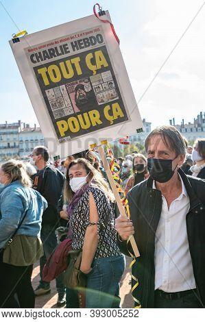 Lyon, France - October 18, 2020 : Anti Terrorism Protest After Islamic Terrorist Attacks : Professor