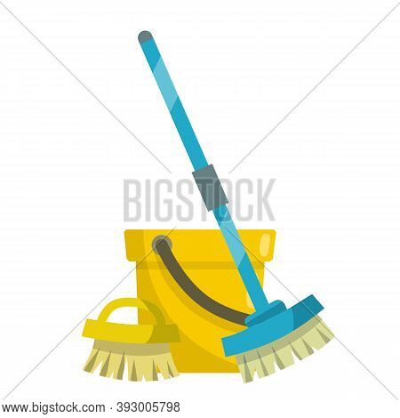Set Of Items For Cleaning The House. Yellow Bucket, Mop, Brush. Housekeeping And Cleanliness. Cartoo