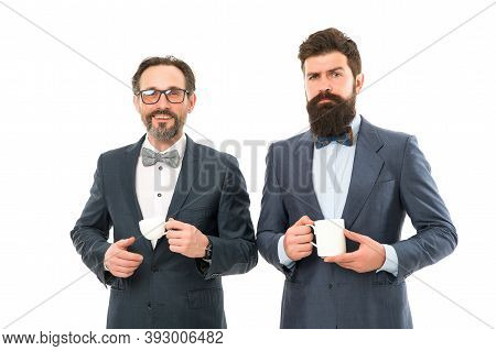 Make Pause Drink Tea. Enjoying Office Coffee. Business People Coffee Break. Coffee Time Pleasant Off