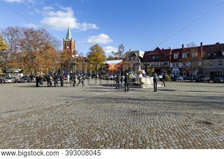Barlinek, Zachodniopomorskie / Poland - November, 3, 2020: Market Square And Old Tenement Houses In