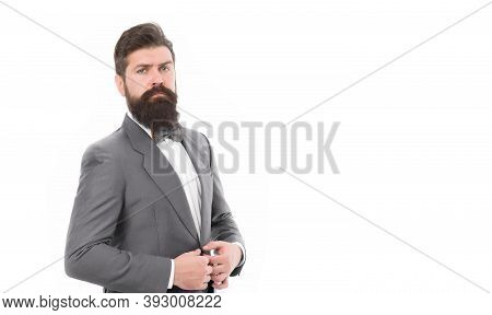 Confident Posture. Businessman Or Host Fashionable Outfit Isolated White. Man Bearded Hipster Wear C