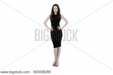 Woman In Formal Dress White Background. Fashionable Business Lady. Luxury Boutique. Fashion Clothes