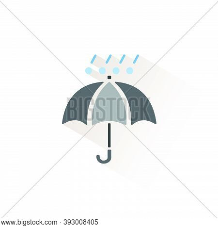 Umbrella With Hail And Rain. Isolated Color Icon. Weather Glyph Vector Illustration
