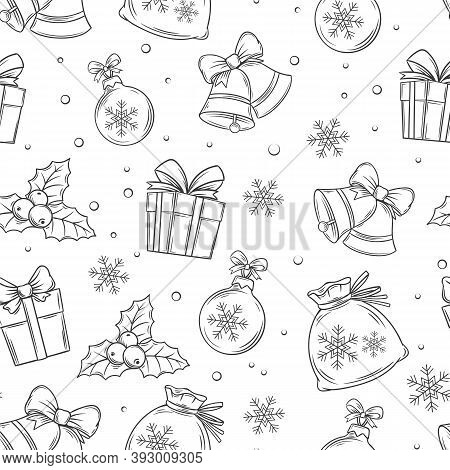 Merry Christmas Seamless Pattern. Holidays Gift, Bells, Balls, Snowflakes And Twigs Of Christmas Hol