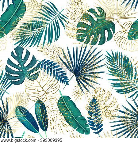 Green And Golden Tropical Leaves Seamless Pattern On White. Jungle Exotic Banana Leaf, Areca Palm, R
