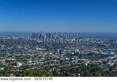 Panoramic View Of The Downtown Skyline Of Los Angeles, California, Usa.
